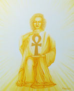 Et l'Ange lui présenta la croix ANKH  50x60cm Toile 1450€