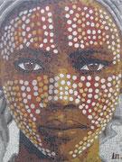 """série ethnique, masque peint, """"jeune éthiopien IV"""", réalisé en mosaïque"""