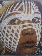 """série ethnique, masque peint, """"petite fille Dan-Yacouba III """", côte d'ivoire, en mosaïque"""