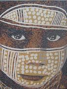 """série ethnique, masque peint, """"l'enfant aborigène I"""", australie, en mosaïque,"""