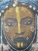 """série ethnique, masque peint, """"jeune nigérien II"""" en mosaïque"""