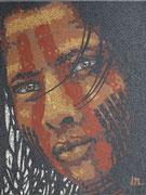 """série ethnique, masque peint, """"enfant amazonien VI"""" tribue kayopo, en mosaïque"""
