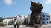 """Le """"chien"""" fleuri devant le musée Guggenheim Bilbao"""