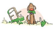 Illustration von Frank Schulz Art für Dirk Grosser im Kailash Verlag zu Der Buddha auf vier Pfoten (Hund hat Sesselpolster zerfetzt)