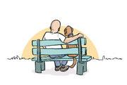 Illustration von Frank Schulz Art für Dirk Grosser im Kailash Verlag zu Der Buddha auf vier Pfoten (Mann und Hund sitzen gemeinsam auf der Parkbank)