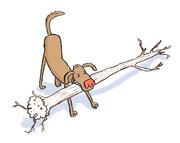 Illustration von Frank Schulz Art für Dirk Grosser im Kailash Verlag zu Der Buddha auf vier Pfoten (Hund spielt mit Baumstamm)
