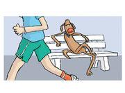 Illustration von Frank Schulz Art für Dirk Grosser im Kailash Verlag zu Der Buddha auf vier Pfoten (Hund sitzt cool auf Parkbank während Herrchen joggt)