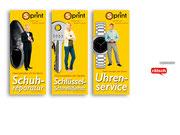 + Print: Drei Banner als Werbeaufsteller