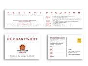 Innenseiten der Einladungskarte und Vorder- und Rückseite der Antwortkarte