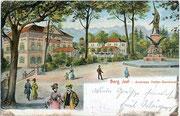 Museum und Andreas-Hofer-Denkmal am Berg Isel. Kombinationsfarbdruck (Typochromie) 9x14cm; Impressum: Robert Warger, Innsbruck; postalisch gelaufen 1906.  Inv.-Nr. vu914kfd00008