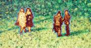 """Parkpaare"", 2017, Öl auf Leinwand, 70 x 130 cm"