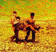 """Kameraden"", 2019, Öl auf Leinwand, 145 x 155 cm"