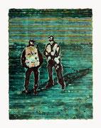 """Aus der Reihe: """"Doppel / Gänger"""", 2018, Öl auf Seidenpapier und Karton, 40 x 30 cm"""