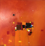 Orange Sky, 80 x 80 cm, Acryl   •   CHF 3 200.--