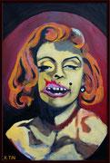 """""""Gueule fragile"""", Marilyn, acrylique sur toile 41cmx27cm"""