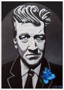 """""""Blue Spirit"""", portrait de David Lynch avec rose bleue, acrylique sur toile, 55 x 38cm"""