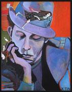 """Tom Waits """"Blue Valentine"""", acrylique sur toile 65x50cm"""