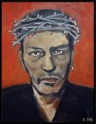 """Daniel Darc, """"J'irai au paradis"""", acrylique sur toile (40cm x 30cm)"""