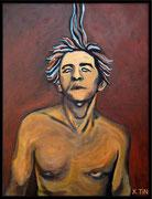 """Hubert-Félix Thiefaine, """"les dieux sont jaloux de nos corps"""", acrylique sur toile, 65x46cm"""