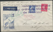 Rocketflight P.28 dated 13.09.1935, rocket P.28 should launch from Calais to Dover, 400 covers have been prepared, but the french authorities have not permitted this flight, no flown covers are existing, remark on the cover, orig. signed by Roberti