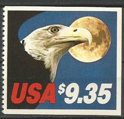 12.8.1983 new US stamp with 9,35 US$ value for the Express mail next day service until 900 g weght for the letter, 3500 postoffices joined this service