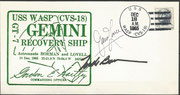 Gemini 7 recovery cover dated 18.12.1965,  orig. signed by Lovell and Borman