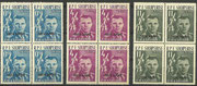 Yuri Gagarin Albania 647I-649I black overprint ( blocks of 4 )