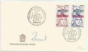 CSSR, FDC orig sigend by Wladimir Remik and cancelled with special onboard cancel used by Remik in the space, launch date 02.03.1978 with pair 2425 and 2426, it are excisting only 1300 items with the pair of different values,not flown over