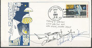 24.11.1969, landing of Apollo 12 and recovery by the USS Hornet as recovery ship, captains cover orig. sigend yb complete crew Apollo 12