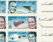 Qatar 269/273 A, perforate, Gemini 6 and 7 honoring the US astronauts, full sheet , New Currency inverted overprinted, mnh, not listed