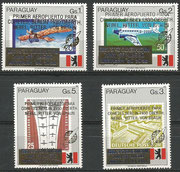 Paraguay 4402/05 mnh,  overprint in gold ( primer aeropuerto...) and blue inverted (Prof Dr.Hermann...)