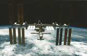 ISS Orbitalstation with docked Space Shuttle STS-134 and ATV-2