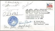 Launch cover STS-71 Atlantis, orig signed by complete launch crew STS-71, first docking to MIR Station
