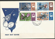 Qatar 94a/101a 8 stamps perforate, Gemini rendevouz black overprinted  on FDC