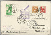 "Postrocket, Versuchsrakete ""V14"" from Friedrich Schmiedl, launch 16.03.1933 from Garrachwänden to direction to Arzberg, 2 stamps 3 and 5 Grochen and green Vignette, white paper, totally 133 flown covers are known"