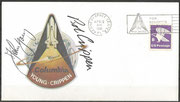 Space Shuttle STS-1  launchcover with mission symbol KSC (Flight 1, Columbia ) orig. signed by complete crew John Young and Bob Grippen