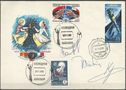 Flown cover Sojus TM-7, orig.signed by complete crew Sojus TM-7, boardcancel 21.12.1988 undocking Sojus TM-6 from MIR and launchcancel Baikonur 26.11.1988