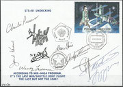 Flown cover from MIR orbitalstation, 8.6.1998, day of undocking from STS-91 from MIR station,,last MIR/Shuttle joint flight, orig.signed by complete crew STS.91 and Mussabajew and Budarin who stayed in MIR, cover No 4 from 30 issued