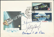 15.7.1975, First day cover with hand cancel Moscow, orig. signed by Leonow and Kubassow and Eberhard Rees