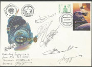 Flown cover from MIR station, dated 11.9.1995 undocking from Sojus TM-21, orig signed from the crew TM-22 and Solowjow and Budarin ( both STS-71 who went back with Sojus TM-21)