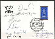 Austria, 23.06.1989 Salzburg Raumfahrtcongress, card postalic sent to Germany with best wishes from Jähn, Mehrbold, Oberth, Prunariu and   , from all persons  orig. signed