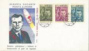 Yuri Gagarin FDC Albania 647-649 red/pink overprint