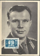Yuri Gagarin protrait card, orig.signed by Gagarin with remarks of date 13th of april 1961, one day after his flight and postmark backdated from 17th of april to 12th of april, this used stamp (CCCP M2473) has been issued only on 17th of april 1961