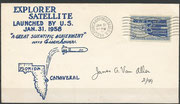 31 of january 1958, launchcover of the Jupiter C-rocket with the first american satellite Explorer 1, discivered the van Allen belt, orig.signed by van Allen , 99 items exist, here is number 2 shown