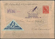 "Postrocket, Versuchsrakete  ""V16"" from Friedrich Schmiedl, launch 27.9.1933 from Hochlantsch to St.Jakob, 3 Grochen chamois paper, 52 flown covers are known"