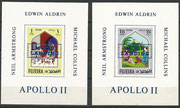 Fujeira, complete set of 12 values overprinted in blue on epreuve de luxe sheetlets, impeforate, 600 items issued each, stories from 1001 nights with overprint Apollo 11, not listed