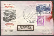 Austria, flown cover 2nd official rocket mail austria, dated 25.06.1962, crash cover!!, 12.864 flown covers, 5243 crashed (GrossGlockner Crash)