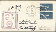 Apollo 16 landing and recovery (USS Ticonderoga) cover orig.signed by complete crew Mattingly, Young and Duke