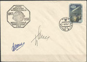 Launch cover 4.10.1957 of Sputnik 1,orig.signed by Tschertok and Mischin first artificial satellite of mankind, targets were to investigate the density and temperature of the upper layer the atmosphere, Sputnik 1 transmitted 21 days datas to the earth