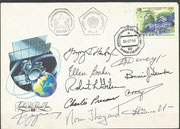 Flown boardmail dated 4.7.1995, orig.signed by complete crew Sojus TM-21, and complete crew from the Space Shuttle STS-71 which docked the first time on the MIR Orbitalstation